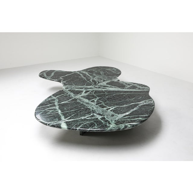 Contemporary Postmodern Green Marble Coffee Table in the Manner of Noguchi For Sale - Image 3 of 12