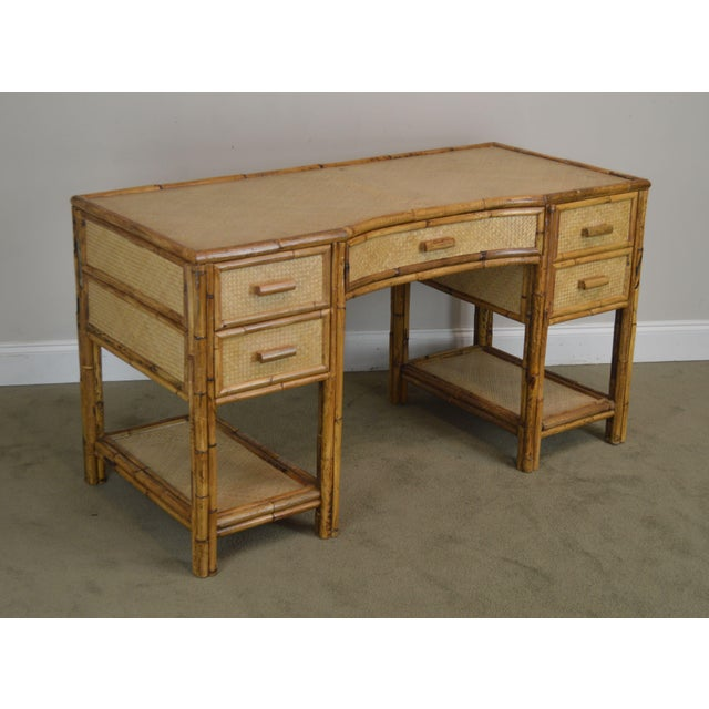 High Quality Vintage Rattan Desk with Drawers