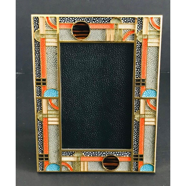 Multi-color shagreen and gold-plated picture frame by Fabio Ltd Height: 8.25 inches / Width: 6.25 inches / Depth: 1 inch...