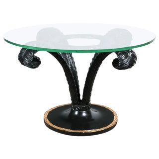 Hollywood Regency Style Ebonized Glass Top Palm Leaf Coffee Table Gilt Border For Sale