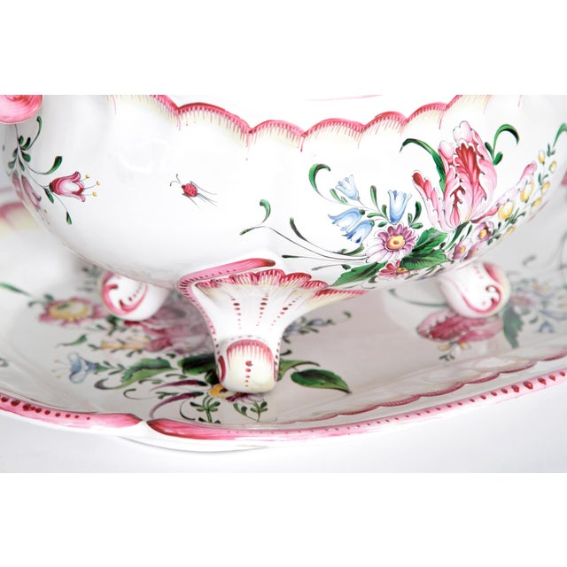 Early 20th Century A Large French Faience Tureen With Platter For Sale - Image 5 of 11