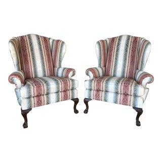 Ethan Allen Ball & Claw Wing Back Arm Chairs - a Pair