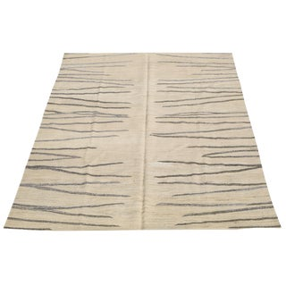 "Contemporary Turkish Kilim Woven Wool Rug - 10'1"" X 8'10"" For Sale"