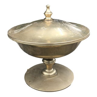 Vintage Brass Etched Pagoda Footed Covers Dish For Sale