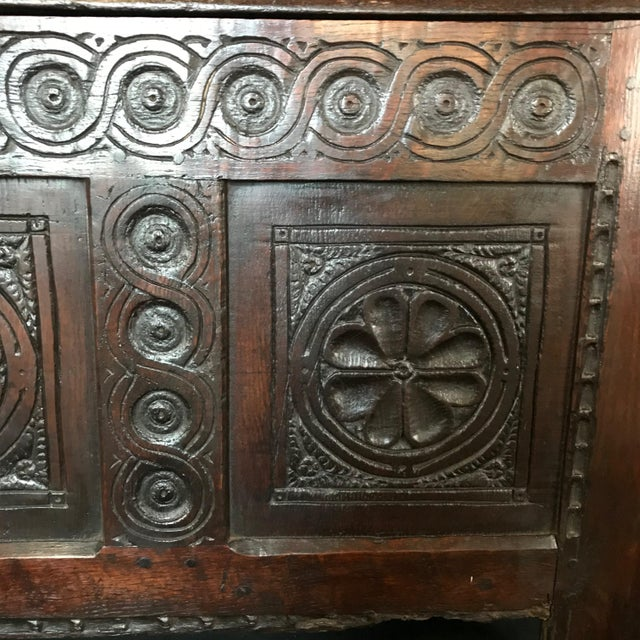 French Early 18th Century Antique French Carved Coffer Chest For Sale - Image 3 of 13