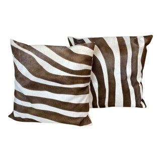 Oly Zebra Hide Pillows - a Pair For Sale