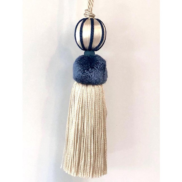 Blue Marine Blue & Cream Beaded Key Tassel - H 4.5 - Inches For Sale - Image 8 of 8