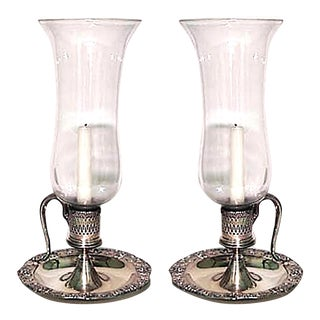 English Victorian Silver Plate Candlesticks With Hurricane Shades