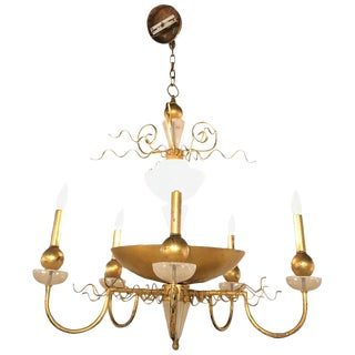 1970s Van Teal Stylish Modern Gold Leaf Chandelier For Sale