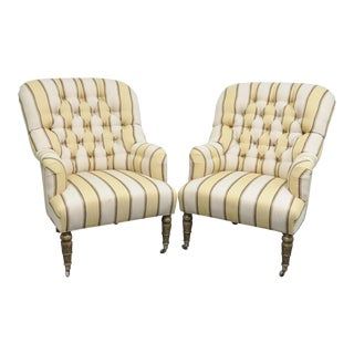 Regency Chesterfield Style Striped Club Chairs - a Pair For Sale