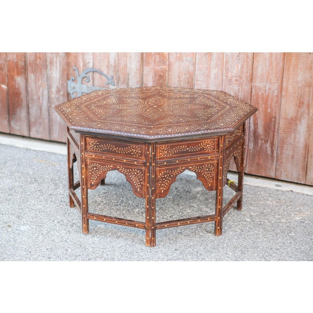 English Large Octagonal Bone Inlay Floral Table For Sale - Image 3 of 9