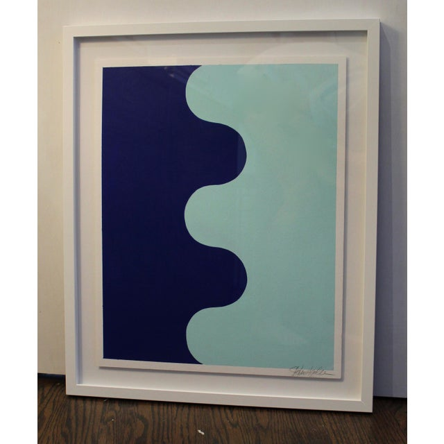 Contemporary Framed Hairpin Serpentine in Bottle Blue and Aqua by Stephanie Henderson For Sale - Image 3 of 6