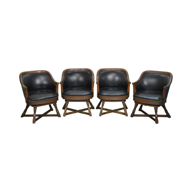 Romweber Viking Oak Set of 4 Swivel Club Chairs For Sale - Image 11 of 11