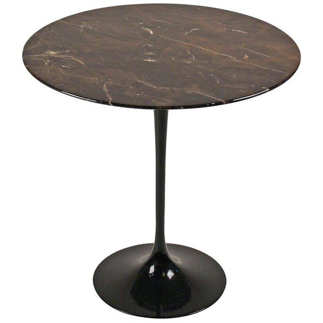 Contemporary Eero Saarinen Side Table for Knoll With Polished Espresso Marble Top For Sale - Image 3 of 5