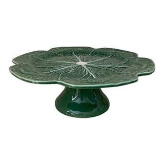 Bordallo Pinheiro Cabbage Green Pedestal Cake Stand For Sale