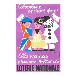 1957 French Poster, Loterie Nationale Advertisement, Columbine Se Croit Fine For Sale