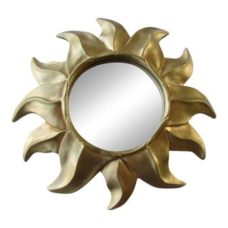 Italian Sunburst Gold Gilded Mid Century Mirror For Sale