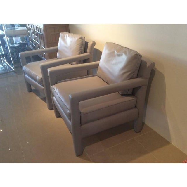 Gray Vintage Milo Baughman Style Parsons Grey Leather Arm Chairs - A Pair For Sale - Image 8 of 12