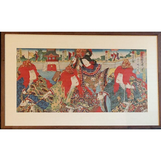 Meiji Period Japanese Triptych Woodblock print by Kunichika. This print is titled Princess and Three Dragon Kings....