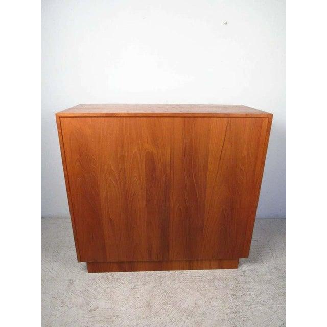 1970s 1970s Danish Modern Solid Teak Tamboured Door Storage Cabinet For Sale - Image 5 of 6