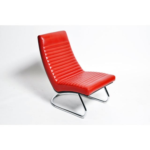 "1970s ""Tulip Red"" Lounge Chairs - a Pair For Sale - Image 4 of 13"