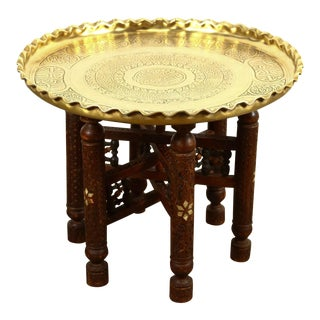 19th Century Moorish Brass Tray Side Table For Sale