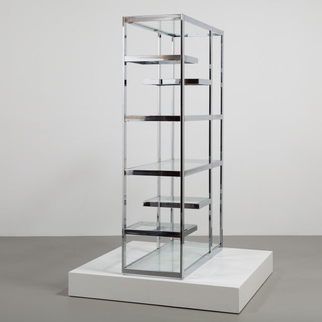 A Single Chromium Steel Framed Etagere USA 1970s For Sale - Image 4 of 6