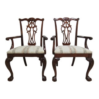 Modern Ethan Allen 18th Century Style Mahogany Chippendale Dining Room Arm Chairs- A Pair For Sale