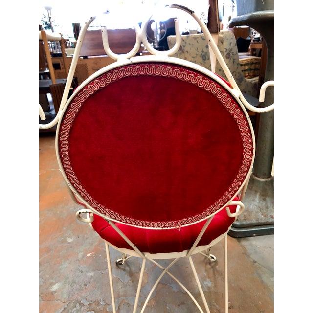 Mid 20th Century Vintage Teena Original Hollywood Regency Red Velvet Vanity Chair For Sale - Image 5 of 12
