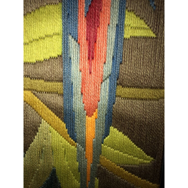 Mid-Century Modern Hand Crafted Parrot Needlepoint Artwork in Lucite Frame For Sale - Image 10 of 11