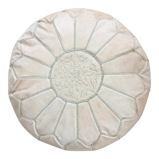 Moroccan Blush Zippered Leather Pouf