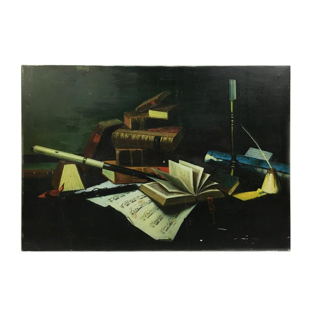 Canvas Vintage Collier Style Study Room Items Still Life Painting For Sale - Image 7 of 7
