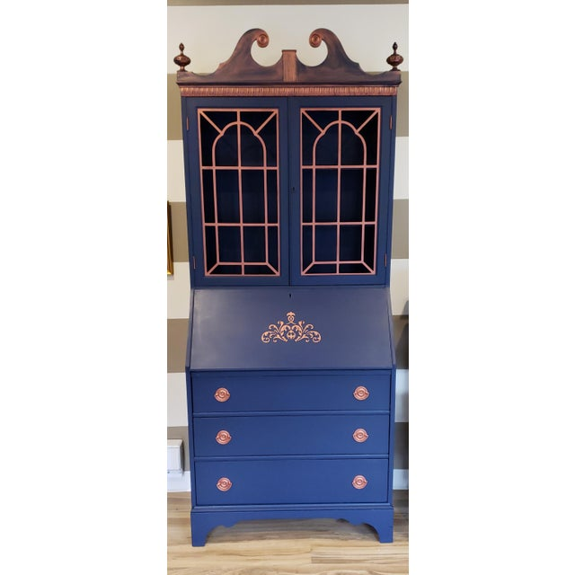 20th Century Chippendale and Sheraton Revival Slant Front Secretary Desk For Sale - Image 13 of 13