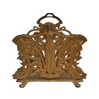 Art Nouveau Cast Iron Letter Holder For Sale