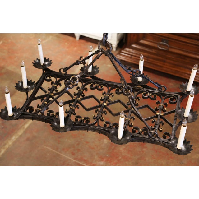 Late 19th Century 19th Century French Gothic Forged Iron Flat Bottom Ten-Light Chandelier For Sale - Image 5 of 13