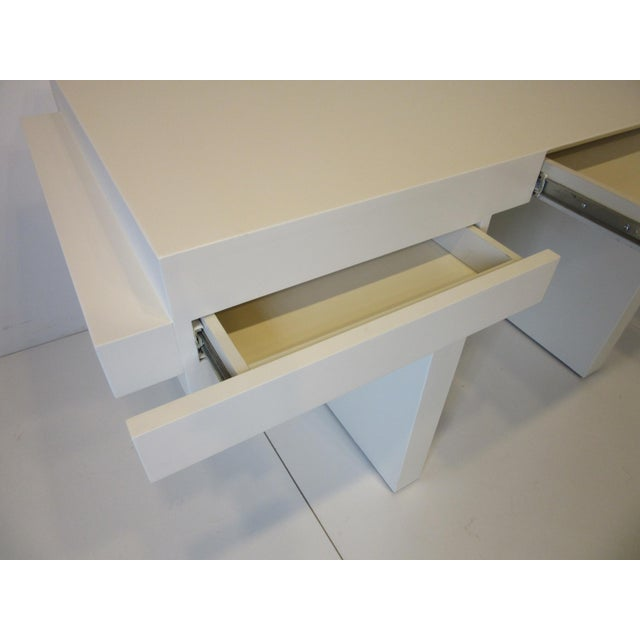 Cream 70's Cream Lacquer Sculptural Desk For Sale - Image 8 of 12