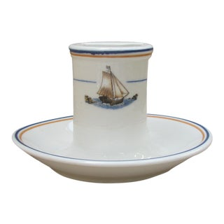 1920s Nautical Sailing Ship Match Holder and Ashtray For Sale