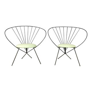 Mid-Century Modern Green Hoop Chairs - A Pair