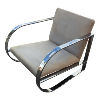 Milo Baughman Style Chrome Flat Bar Curved Lounge Chair