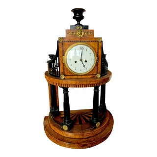 Early Francis I Era Antique Austrian Portico Clock With Burled Marquetry For Sale