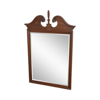 Ethan Allen Georgian Court Cherry Chippendale Style Beveled Mirror For Sale