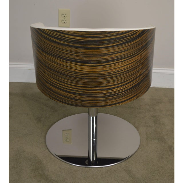 White Leather & Zebra Wood Barrel Back Pair Chrome Pedestal Swivel Lounge Chairs by Cape (B) For Sale In Philadelphia - Image 6 of 13