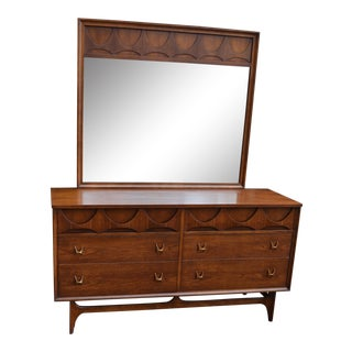 1960s Mid Century Modern Broyhill Brasilia Double Dresser With Mirror For Sale