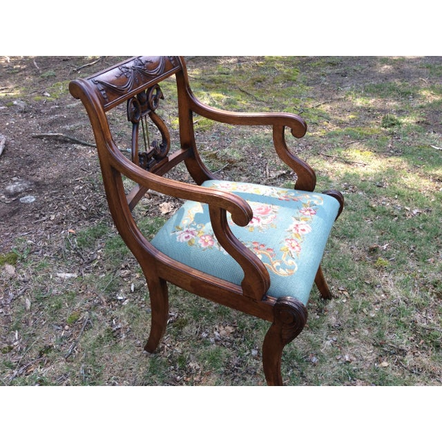 Regency Floral Needlepoint Harp Arm Chair - Image 4 of 7