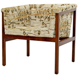 Mid-Century Modern Dunbar Wood Framed Cube Accent Lounge Chair