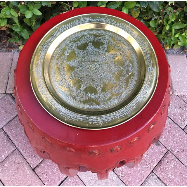 Antique Persian Brass Tray/Plate With Arabic Inscription and Design For Sale In West Palm - Image 6 of 6
