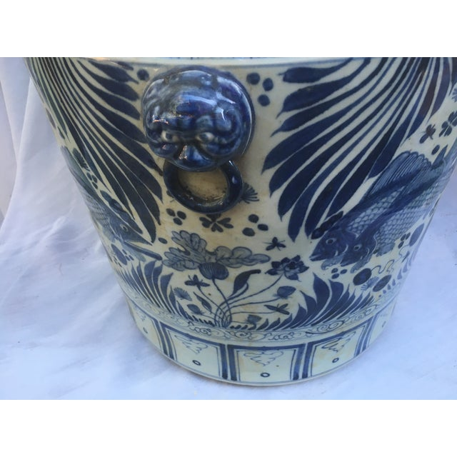 Blue & White Chinese Fish Motif Planter - Image 8 of 10