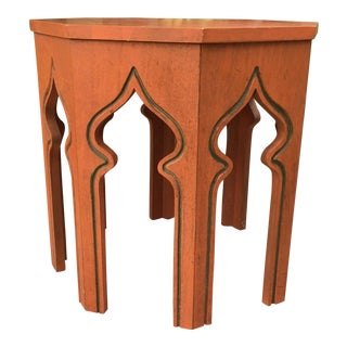 1970s Moroccan Orange Solid Wood End Table For Sale