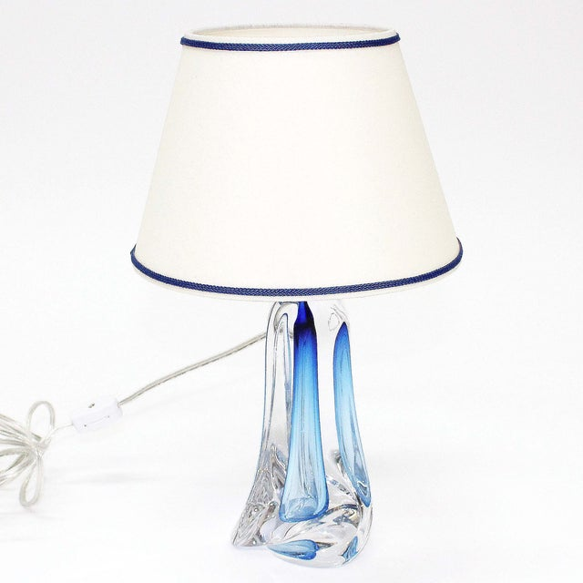 Val St Lambert Light Blue Table Lamp - Image 2 of 5