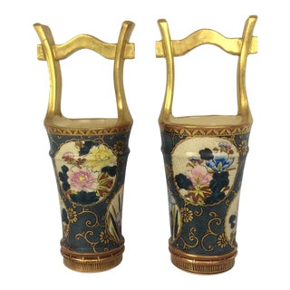 Satsuma Antiques Hand Painted Vases - A Pair